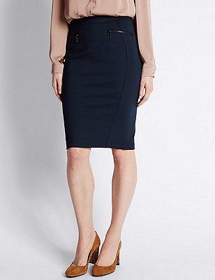 Zipped Pocket Pencil Skirt, NAVY, catlanding