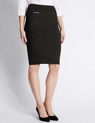 Zipped Pocket Pencil Skirt, GREY MIX, catlanding