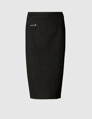 Зауженная юбка-карандаш с карманами на молнии