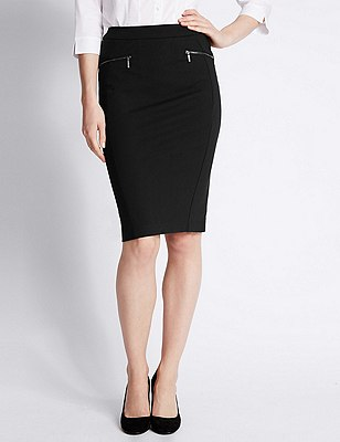 Zipped Pocket Pencil Skirt, BLACK, catlanding