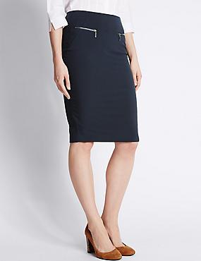 Front Twin Zip Pockets Pencil Skirt, NAVY, catlanding