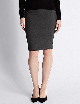 Front Twin Zip Pockets Pencil Skirt, CHARCOAL, catlanding