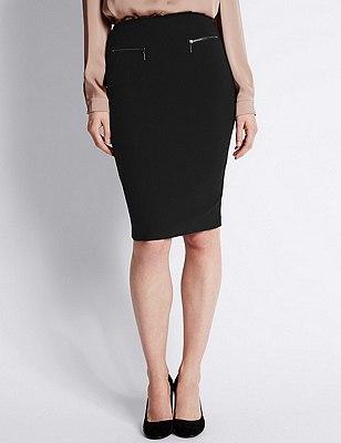 Front Twin Zip Pockets Pencil Skirt, BLACK, catlanding