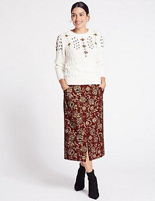 Jacquard Print A-Line Midi Skirt, RED MIX, catlanding
