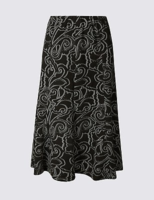 Paisley Print A-Line Midi Skirt, BLACK MIX, catlanding