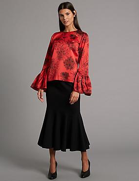 Fluted Hem Ponte Pencil Midi Skirt, BLACK, catlanding