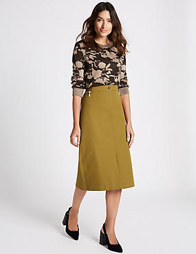 Cotton Rich Pencil Midi Skirt, OLIVE, catlanding