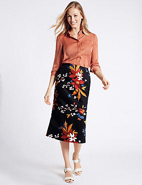 Cotton Rich Floral Print Pencil Midi Skirt, MULTI, catlanding