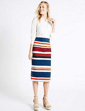 Cotton Rich Striped Pencil Midi Skirt, ORANGE MIX, catlanding
