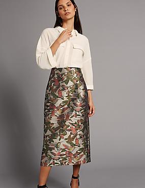Jacquard Bird Print A-Line Midi Skirt, GOLD MIX, catlanding