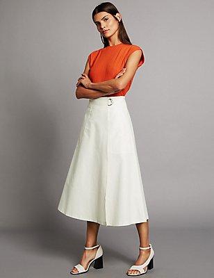 Cotton Rich Wrap Detail A-Line Midi Skirt, SOFT WHITE, catlanding
