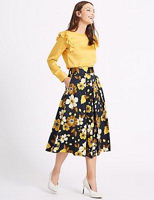 Cotton Rich Floral Print A-Line Midi Skirt, YELLOW MIX, catlanding