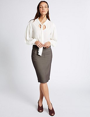Checked Pencil Midi Skirt, NATURAL MIX, catlanding