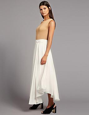 Tie Side A-Line Midi Skirt, SOFT WHITE, catlanding