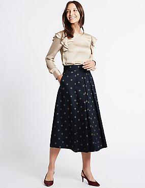 Cotton Rich Printed A-Line Midi Skirt, DARK NAVY, catlanding