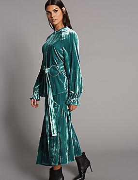 Velvet A-Line Midi Skirt , PETROL, catlanding