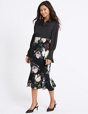 Floral Print Fishtail Midi Skirt , BLACK MIX, catlanding