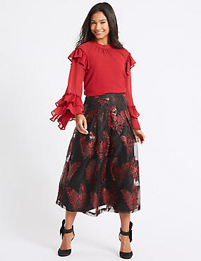 Feather Flared Jacquard A-Line Midi Skirt, BLACK MIX, catlanding