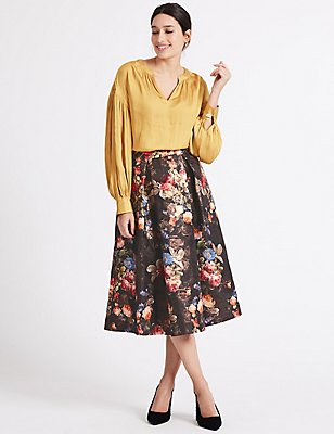 Jacquard Floral Print A-Line Midi Skirt, BLACK MIX, catlanding