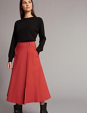 Cotton Blend Wrap A-Line Midi Skirt, DARK RED, catlanding