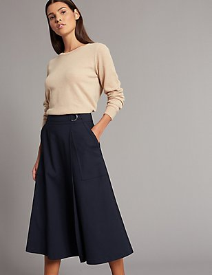 Cotton Blend Wrap A-Line Midi Skirt, NAVY, catlanding