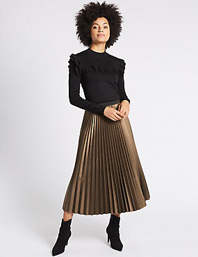 Pleated Midi Skirt, GOLD/BRONZE, catlanding