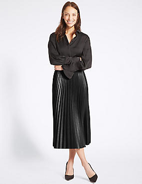 Pleated Midi Skirt, BLACK, catlanding