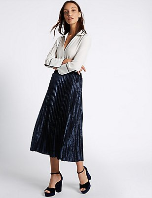 Velvet Pleated A-Line Midi Skirt, NAVY, catlanding