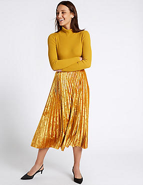 Velvet Pleated A-Line Midi Skirt, GOLD, catlanding
