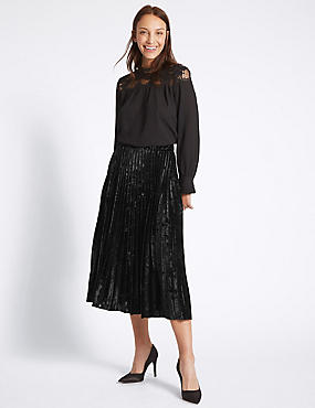 Velvet Pleated A-Line Midi Skirt, BLACK, catlanding