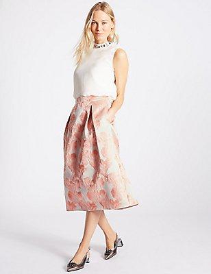 Jacquard A-Line Midi Skirt , LIGHT PINK MIX, catlanding