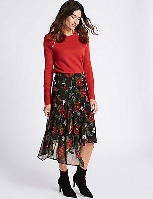 Floral Print Chiffon A-Line Midi Skirt, BLACK MIX, catlanding