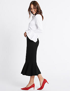 Fishtail Pencil Midi Skirt, BLACK, catlanding