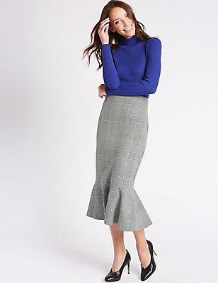 Checked Fishtail A-Line Midi Skirt, GREY MIX, catlanding