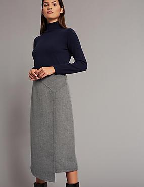 Double Face A-Line Midi Skirt, GREY, catlanding