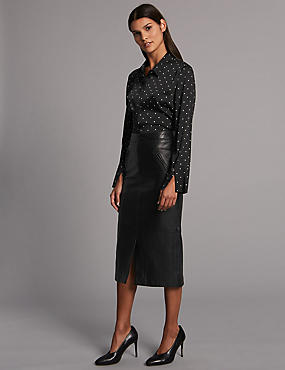 Leather Pencil Midi Skirt, BLACK, catlanding