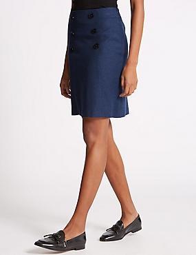 Button Front Mini Skirt, NAVY MIX, catlanding