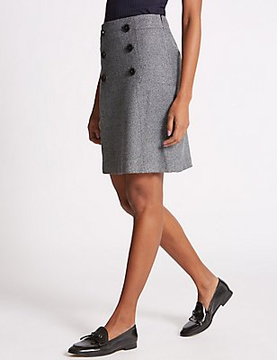 Button Front Mini Skirt, GREY MIX, catlanding