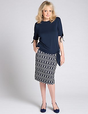Textured Pencil Skirt, BLUE MIX, catlanding