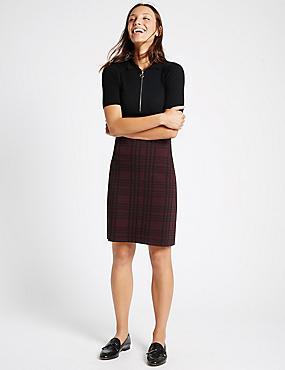 Checked A-Line Skirt, BURGUNDY MIX, catlanding