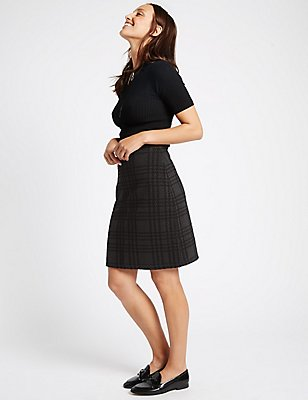 Checked A-Line Skirt, GREY MIX, catlanding