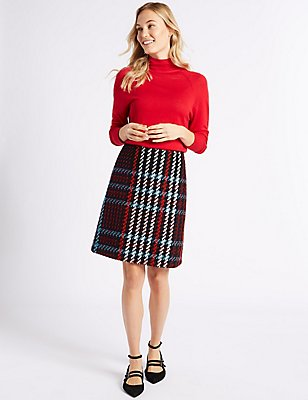Checked A-Line Mini Skirt, BLACK MIX, catlanding