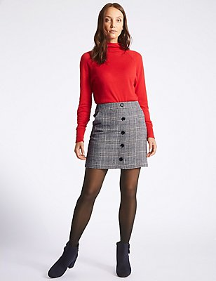 Checked A-Line Mini Skirt, GREY MIX, catlanding