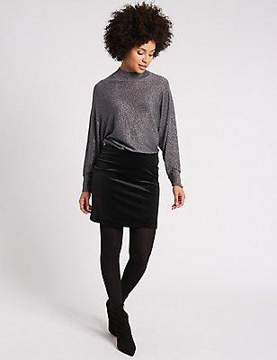 Velvet Straight Mini Skirt, BLACK, catlanding