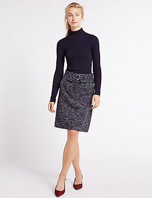 Textured Buckle A-Line Mini Skirt, , catlanding
