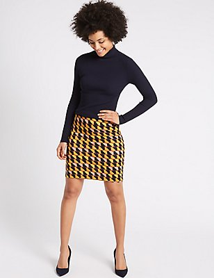 Geometric Print A-Line Mini Skirt, YELLOW MIX, catlanding