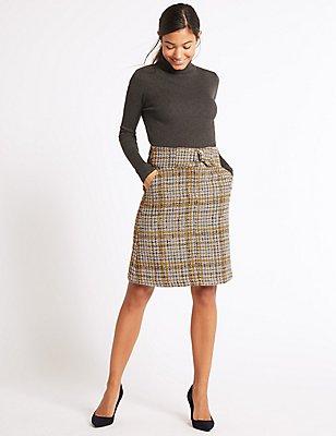 Textured A-Line Mini Skirt, YELLOW MIX, catlanding