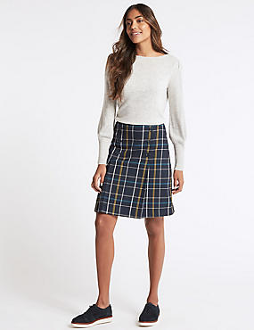 Checked Button Front A-Line Mini Skirt, BLUE MIX, catlanding