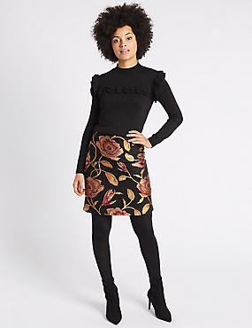 Floral Jacquard Straight Mini Skirt, BLACK MIX, catlanding