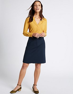 Cotton Blend Buckle Detail A-Line Mini Skirt, DARK NAVY, catlanding